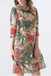 Side Slit Tropical Print Dress -