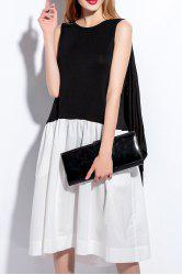 Sleeveless Spliced Color Block Faux Twinset Dress -