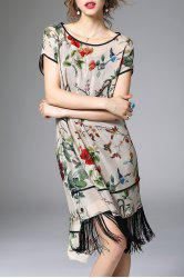 Floral Asymmetric Fringed Dress With Cami Dress - GRAY