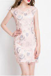 V Neck Floral Embroidered Sleeveless Dress -