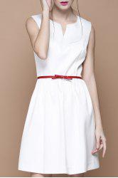 Solid Color Sleeveless Flared Dress -