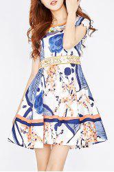 Embroidery Print Patched Dress -