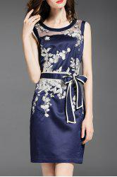 Voile Spliced Floral Embroidery Bowknot Dress -