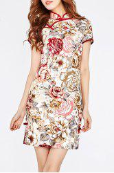 Flower Printed Cheongsam Dress -
