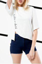 Asymmetric Print Cotton Tee -