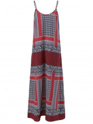 Long Print Slip Boho Dress - COLORFUL