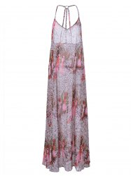 Backless Boho Print Long Swing Slip Dress - COLORMIX