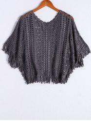 Stylish Round Neck Batwing Sleeves Crochet Top For Women -