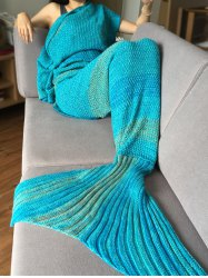 Crochet Stripe Pattern Mermaid Tail Shape Blanket - LAKE BLUE