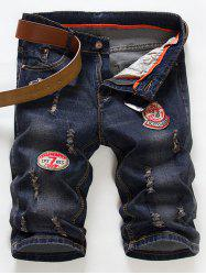 Fashion Straight Leg Embroidered Patch and Hole Design Zipper Fly Denim Shorts For Men -