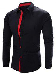 Refreshing Color Block Turn-Down Collar Long Sleeve Shirt For Men - BLACK AND PINK M