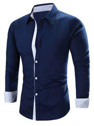 Refreshing Color Block Turn-Down Collar Long Sleeve Shirt For Men - CADETBLUE XL