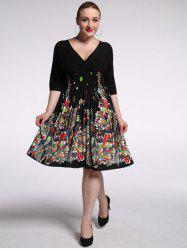 Plus Size Plunging Half Sleeve Floral Skater Dress