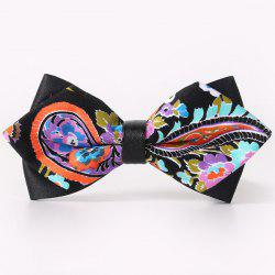 Stylish Handpainted Paisley Pattern Faux Leather Cuff Bow Tie For Men - BLACK