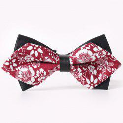 Stylish White Floral Pattern Faux Leather Cuff Double-Deck Bow Tie For Men -
