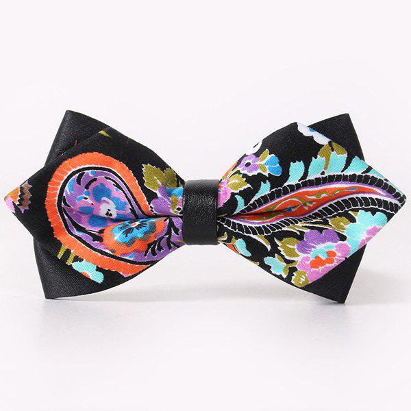 Hot Stylish Handpainted Paisley Pattern Faux Leather Cuff Bow Tie For Men