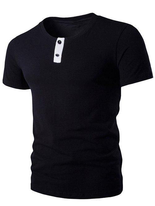 Discount Round Neck Button Embellished Short Sleeve T-Shirt For Men