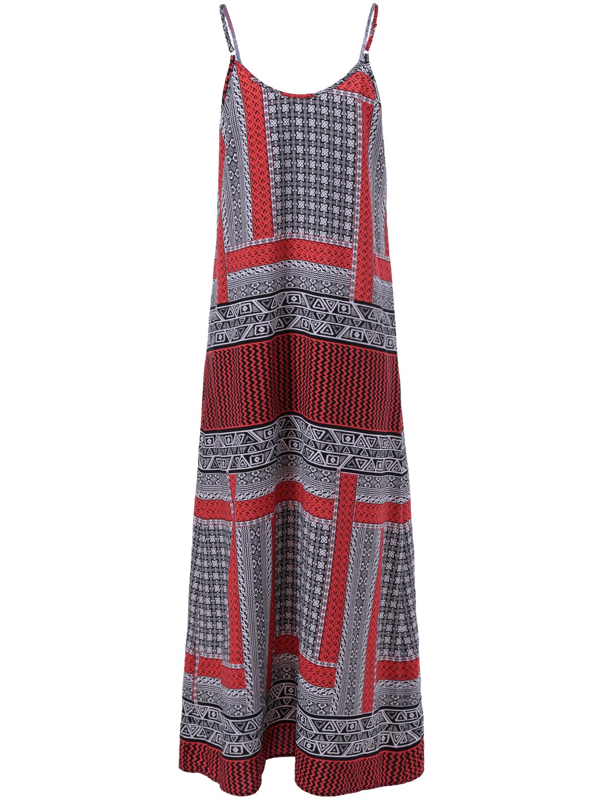 Trendy Long Print Slip Boho Dress
