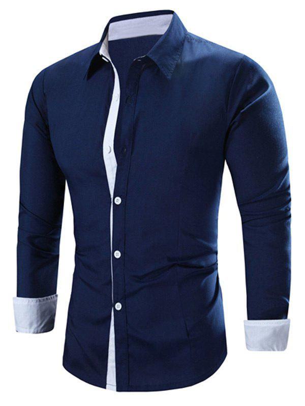 Fashion Refreshing Color Block Turn-Down Collar Long Sleeve Shirt For Men