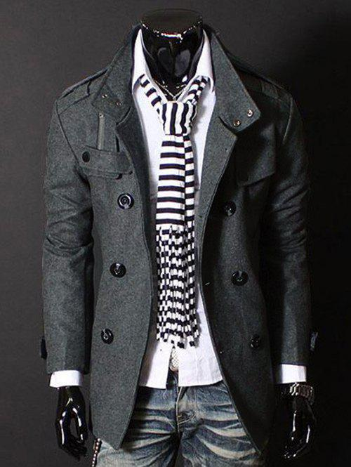 6544d48758 Online Fashion Stand Collar Double Breasted Long Sleeves Woolen Windbreaker  For Men