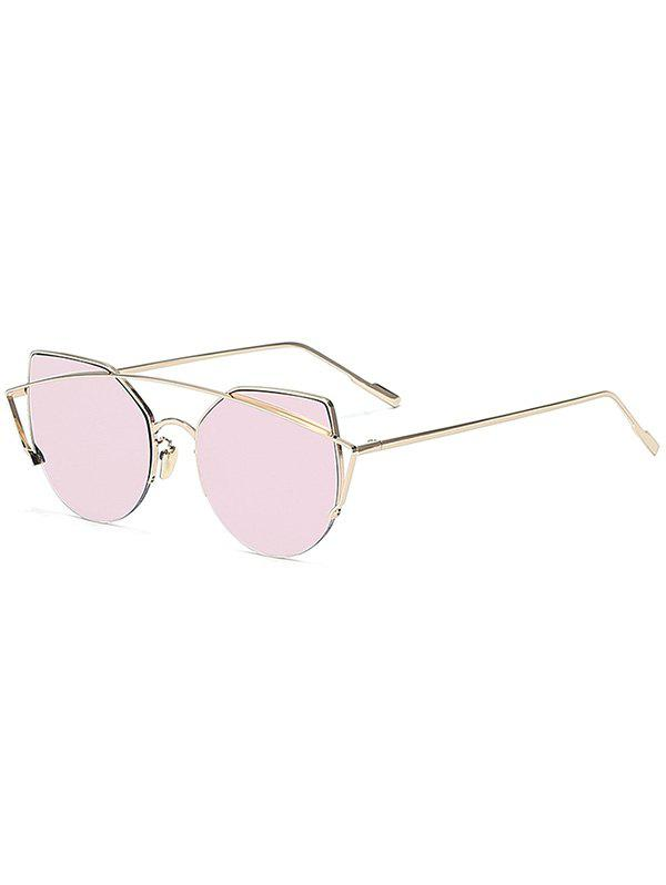 Chic Gold Crossbar Cat Eye Mirrored Sunglasses For WomenACCESSORIES<br><br>Color: PINK; Group: Adult; Gender: For Women; Style: Fashion; Shape: Cat Eye; Lens material: Resin; Frame material: Alloy; Frame Color: Gold; Lens height: 5.2CM; Lens width: 6.5CM; Temple Length: 15CM; Nose: 1.7CM; Frame Length: 14.7CM; Weight: 0.0840kg; Package Contents: 1 x Sunglasses;