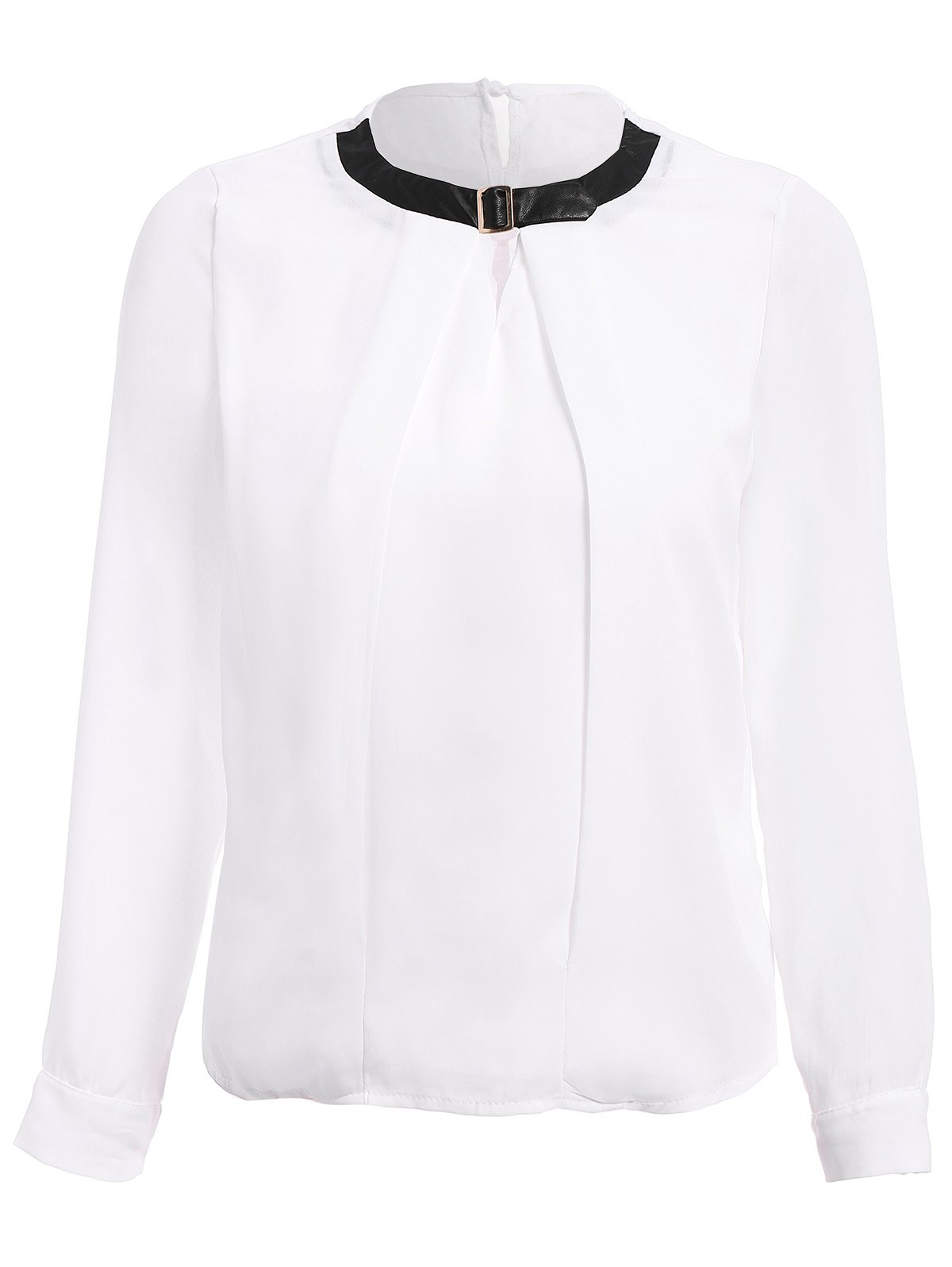 Chic Stylish PU Collar Long Sleeve Hollow Out Blouse For Women