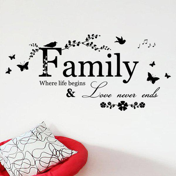 High Quality Removable Family Butterfly Wall Art StickerHOME<br><br>Color: BLACK; Wall Sticker Type: Plane Wall Stickers; Functions: Decorative Wall Stickers; Theme: Animals,Words/Quotes; Material: PVC; Feature: Removable; Weight: 0.110kg; Package Contents: 1 x Wall Art Sticker;
