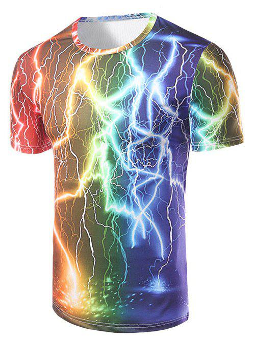 Shops Fashion Round Collar Lightning Printing T-Shirt For Men