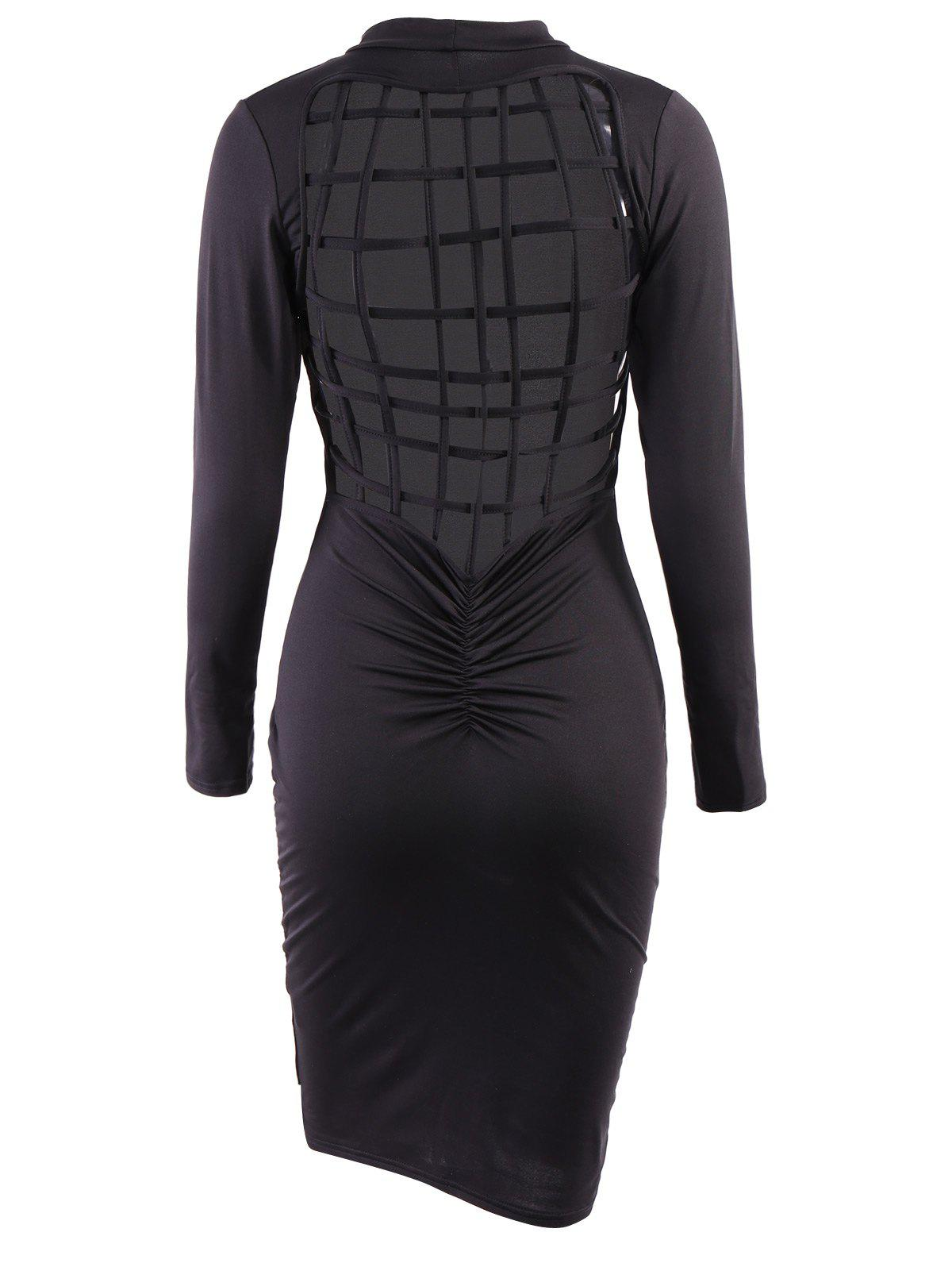 Shop Sexy Solid Color Back Hollow Out Long Sleeve Bodycon Dress For Women