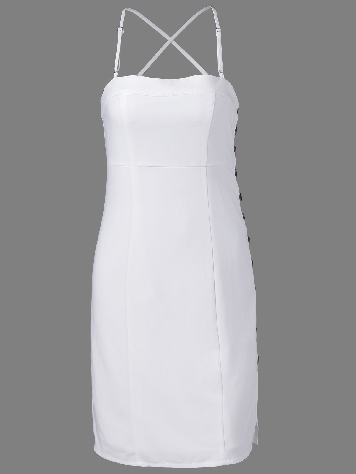 New Fashionable Spaghetti Straps Fastener White Dress For Women