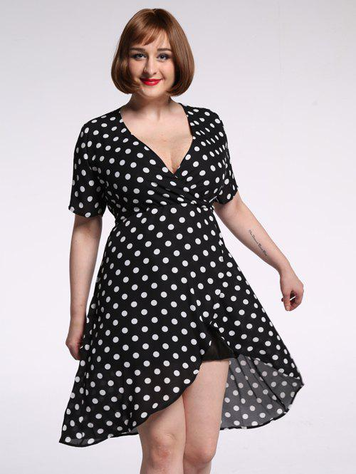 Outfits Plus Size Polka Dot Chiffon Plunge Asymmetric Dress