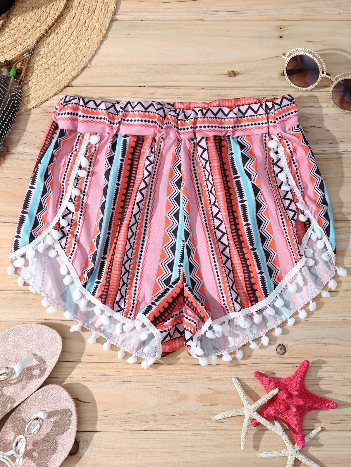 Discount Stylish Geometric Print Elastic Waist Pompon Trim Women's Shorts