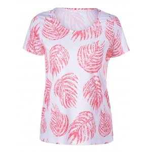 Elegant Round Neck Short Sleeves Plant Printing T-shirt