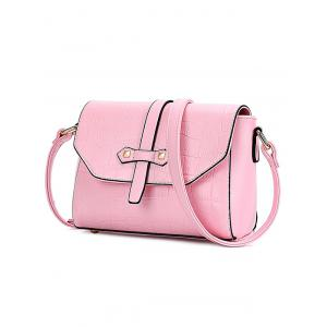Trendy Crocodile Pattern and PU Leather Design Crossbody Bag For Women - PINK