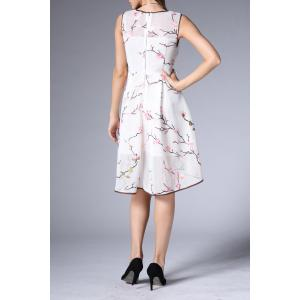 Mesh A Line Flower Embroidered Dress -