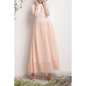 Lace Spliced Pleated Maxi Tulle Dress -