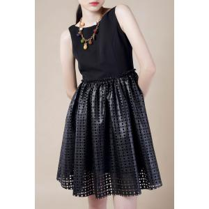 Hollow Out PU Leather Splicing Mini Dress -