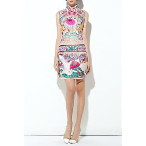 Flower Embroidered Mandarin Collar Slit Dress -