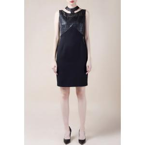 Hollow Out PU Leather Splicing Bodycon Dress -