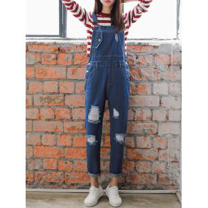 Loose Fitting Hole Design Ninth Denim Suspender Pants