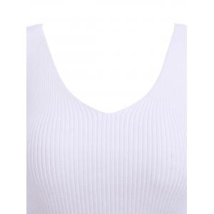 Preppy Pure Color V Neck Knitted Tank Top For Women -