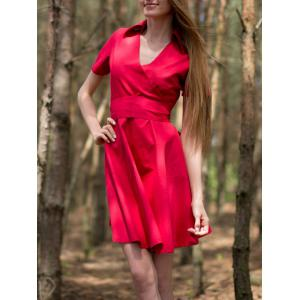 Vintage V-Neck Pure Color Short Sleeves Ball Dress For Women - Red - Xl