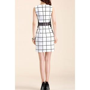 Sleeveless Plaid Sheath Dress -