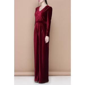 V Neck Velour Solid Color Jumpsuit -