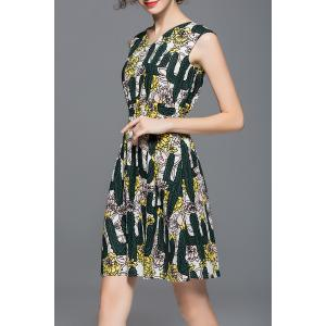 V Neck Cactus Print Sleeveless Dress -