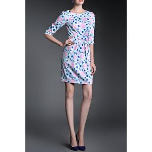 Ruched Floral Sheath Dress -