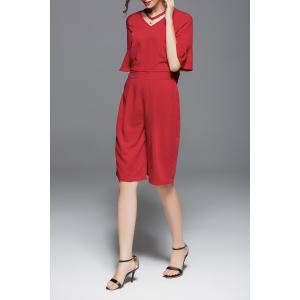V Neck Flare Sleeve Blouse and Knee Length Pants Suits -