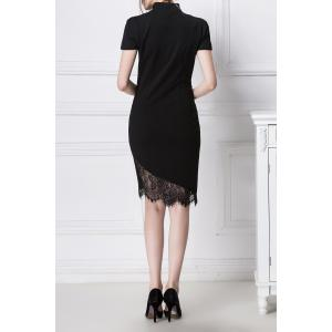 Lace Spliced Ruched Bodycon Dress -