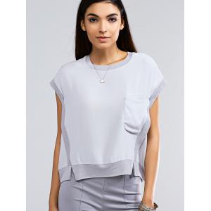 Brief Short Sleeve Pocket Front Slit Hem Women's Blouse -