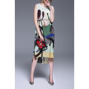 Cartoon Print Sleeveless Dress -